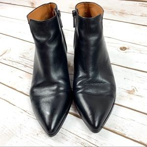 Franco Sarto Black Leather Cone Heel Ankle Boots 6